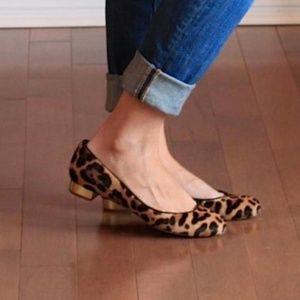 J. Crew Janey Calf Hair Flats Leopard Gold Heel